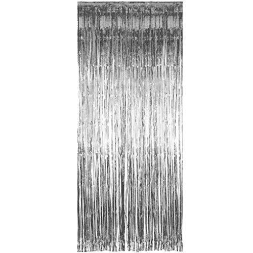 babysbreath17 Schimmernde Fringe Tinsel Türvorhänge Metallic Foil Foto Kulisse Hochzeit Geburtstag Pub Bühnenfest-Dekoration Valance Silber- 92 * 245cm