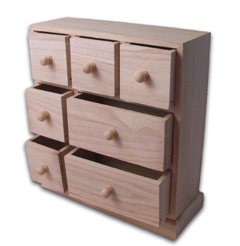 Kommode mit 7 Schubkästen, Holz unbehandelt