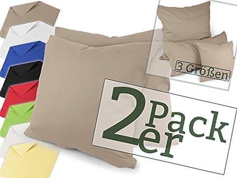 Renforcé-Kissenbezüge im Doppelpack - 100% Baumwolle – schlicht und edel im Design, in 8 Uni-Farben, 40 x 40 cm,