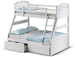 White wood kids triple sleeper bunk bed frame + 3ft mattress + drawers. Wooden 3ft single on top & 4ft6 double on bottom