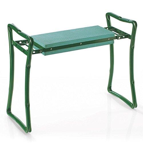 Tri Knie-Stuhl Maxi, gepolsterte Sitz- und Kniefläche, mit Schaumkissen für Gartenarbeit und Hausarbeit, klappbar, Stahlgestell, grün, belastbar bis 150 kg