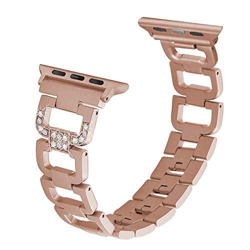 hooroor Armband Kompatibel für Apple Watch Series 4 Series 3 Series 2, Premium-Edelstahl-D-Style-Armband für Apple Watch (Gold(for Series 3&4) 38mm/40mm)