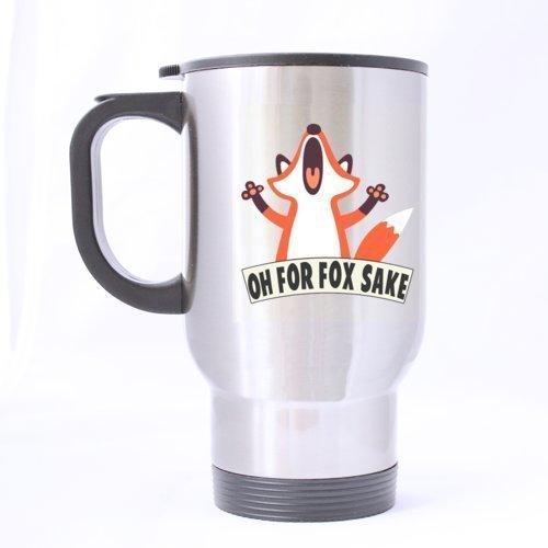 Funny Crazy Fox Oh pour Fox Sake Mug de voyage en inox Argenté 396,9 gram à café/thé Mug – Cadeau personnalisé pour anniversaire, de Noël et nouvel an par pliables Tasses