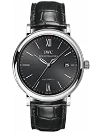 IWC Men's 40mm Black Crocodile Leather Band Steel Case Anti Reflective Sapphire Automatic Watch IW356502