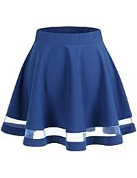 Wedtrend Jupe mini courte évasée Rétro Jupe Basique Plissée Patineuse Fille Elastique, cinq tailles S-XXL