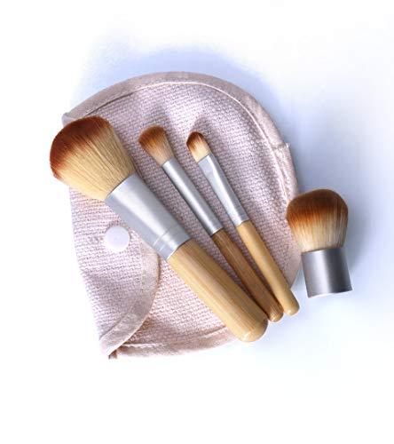 PInerxuz - 4PCS / LOT Bambou Brosse Fondation Pinceau de Maquillage pinceaux de Maquillage Visage Pinceau Poudre pour Le Maquillage Outil de beauté