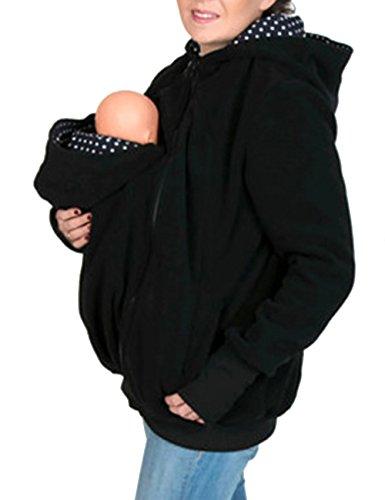EMMA Damen Herbst Winter kuscheligem Fleece Kapuzenpullover 3 in 1 Tragejacke für Mama und Baby Känguru Maternity Umstandbekleidung Jacke Outwear mit Reißverschluss, Schwarz1, (Tragen Size Plus)