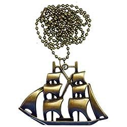 Collar con diseño de barco pirata en bronce.