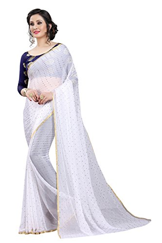 Perfectblue Women's cotton Silk Saree With Blouse Piece (NA6AZMINvARIATION) (White)