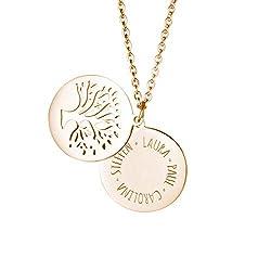 Gravado Kette aus Gold Edelstahl mit Kreis und Lebensbaum, Personalisiert mit Namen, inkl. Geschenkbox, Damen Schmuck, Länge ca. 55 cm