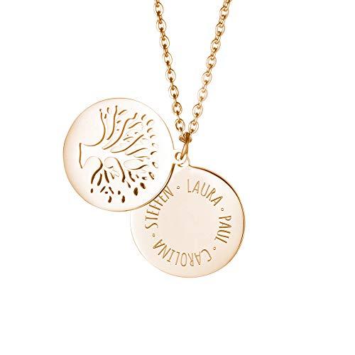Gravado Kette aus Gold Edelstahl mit Kreis und Baumanhänger, Personalisiert mit Namen, inkl. Geschenkbox, Damen Schmuck, Länge ca. 55 cm