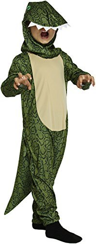 Kid Rex Kostüm T - Childs Green Dinosaur Godzilla T-Rex Onesie Fancy Dress Book Week Costume #Small 4-6 by TrendyFashion