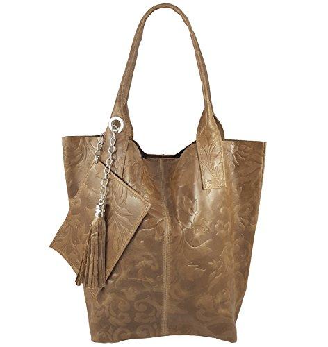 Freyday Damen Echtleder Shopper mit Schmucktasche in vielen Farben Schultertasche Henkeltasche Handtasche Metallic look (Schlamm Prägung) -