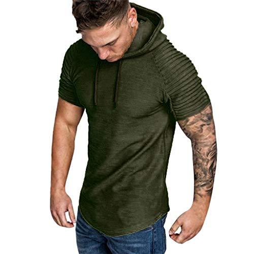 Kurzarm Sommer T-Shirt für Männer, Herrenhemd Slim Fit Kapuzenhemd Kurzarm Falten Slim Fit Raglan Fashion Tees Pullover Tops Regular Fit T-Shirt