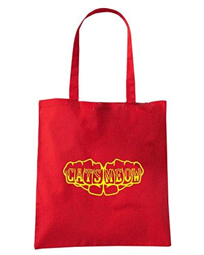 T-Shirtshock - Borsa Shopping FUN0965 cats meow fist knuckles tattoo shirt Rosso
