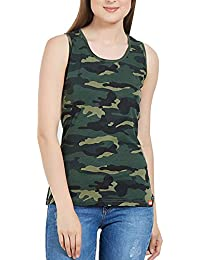 Delhitraderss Women's Military Army Print Regular Fit Top(Sleevless)(Size-S)