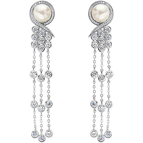 EleQueen Pulsante argento 925 CZ AAA crema perla coltivata d'acqua dolce Stile vittoriano nappa lunga nuziale ciondola gli orecchini
