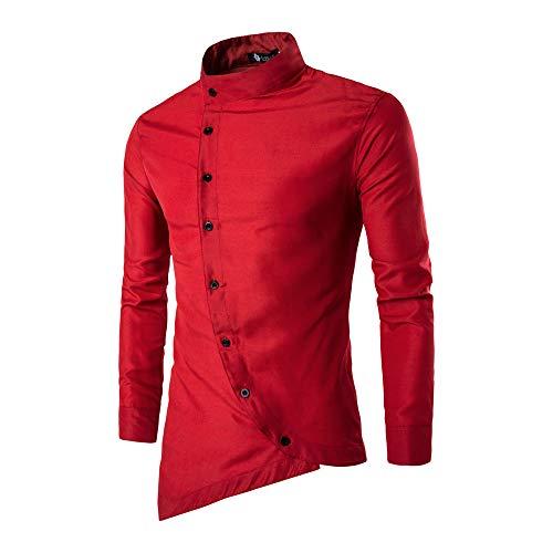 Skang Herren UnregelmäßIger Kragen LangäRmliges Hemd Mit Diagonalem Kragen  FüR Herren Mehrfarbig Optional Bequem Und LäSsig Frische Mode Tops T-Shirts  ... 1c884dce7b