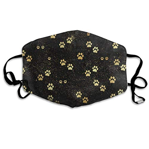 Masken für Erwachsene Great Mask Reusable Anti Dust Face Mouth Cover Gold Animal Paw Print Mask Warm Windproof (Animal-print Warmers)