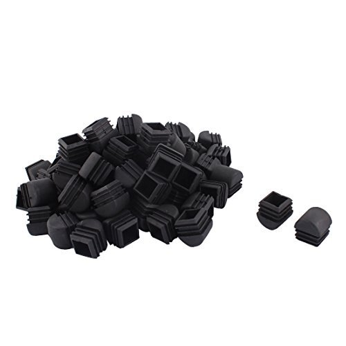 DealMux Jambes Meubles de Plastique Chaise Table Tube carré Tuyau Embouts Caps 25 mm x 25 mm 70pcs Noir