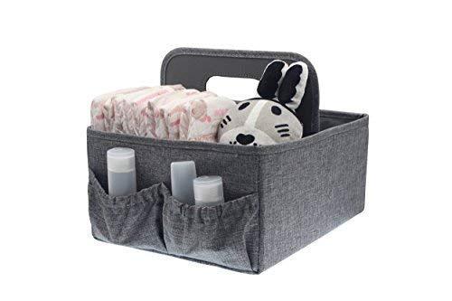 Organiseur portable pliable pour couches et lingettes - grand espace pour biberons, jouets et lingettes -idée cadeau parfaite pour une Baby Shower (gris)