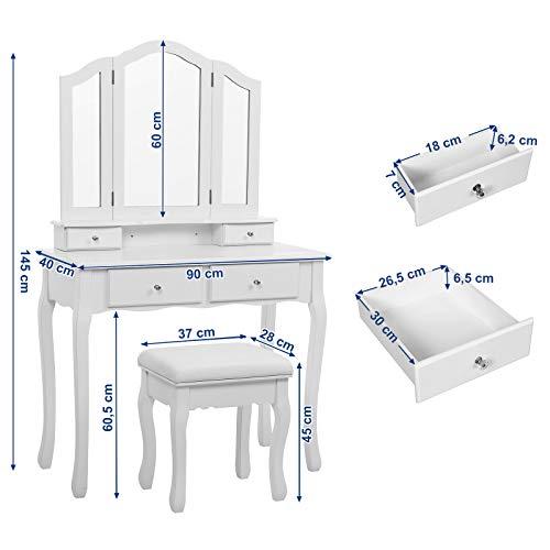 Songmics Schminktisch 3 Spiegel mit Hocker u. 4 Schubladen inkl. 2 Stück Unterteiler, Kippsicherung,weiß RDT07W - 6