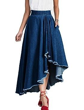 La Mujer Casual De Alta Baja Cintura Elastica Duro Selvedge Denim Irregulares Faldas Largas