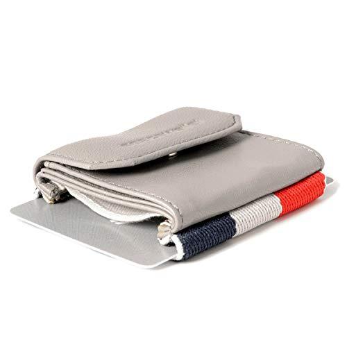 Space Wallet Push I Mini Portemonnaie für Damen & Herren I Kleine Echtleder Geldbörse I Geldbeutel & Kartenetui für 15 EC-Karten/Kreditkarten + Münzfach I Casanova Grey -