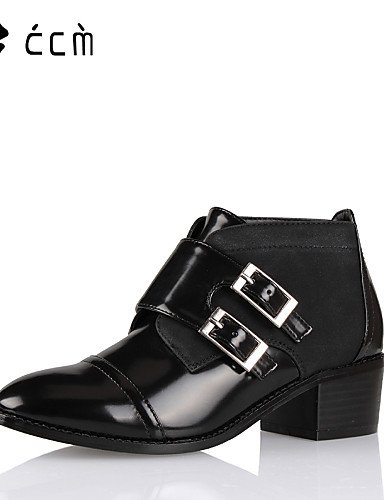 JHUIK xzz/Damen Schuhe Patent Leder Chunky Absatz Fashion Stiefel/Stiefelette/Bootie Stiefel Office & Karriere/Party/Casual Schwarz, black-us5/eu35/uk3/cn34 (Patent Leder-booties)