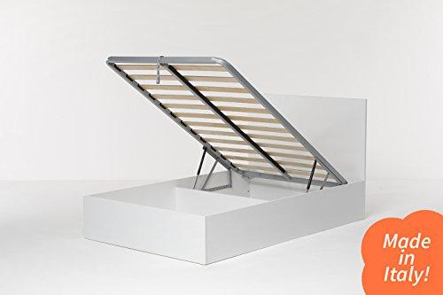 Cangù, Hi Box Letto Contenitore, Bianco, 120 x 190 cm