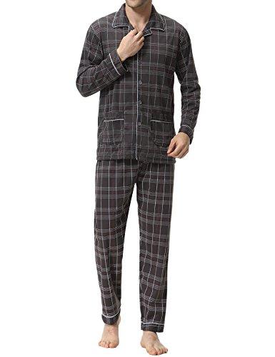 Aibrou Herren Baumwolle Pyjama Set, Winter Warm Langarm Zweiteiliger Schlafanzug Karierte Nachtwäsche Braun L (Herren-pyjama Braun)