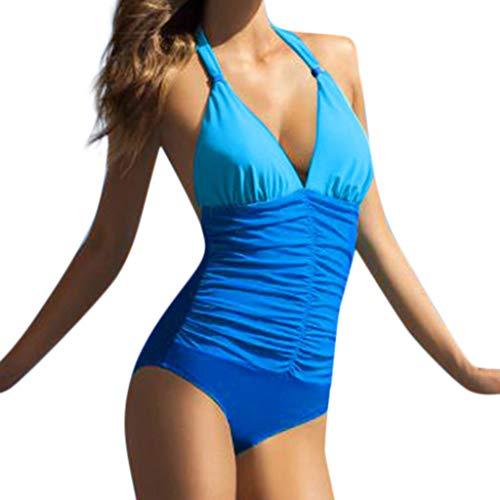 SHE.White Mit offenem Rücken Damen Falten Hals hängen Einteiliger Gepolsterter Badebekleidung Monokini Push Up Bikini Sets Bademode