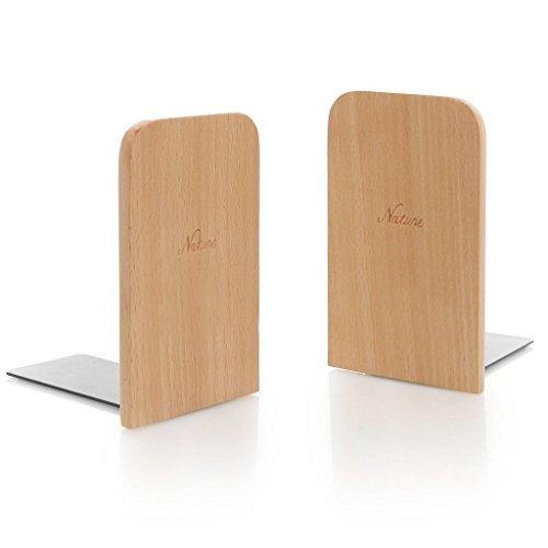 Winterworm Einfach Holz japanischen Stil, natur Buche Holz Buch Ständer Buchstütze Book Enden Ablage Böden Halter Log Farbe Quadratisch