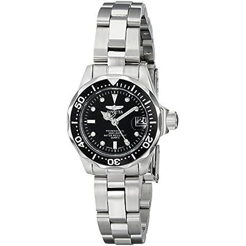 Invicta 8939 - Reloj analógico de cuarzo para mujer, con correa de acero inoxidable, color plateado/negro