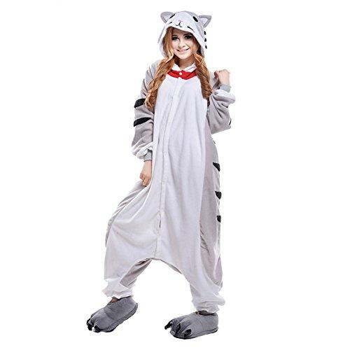 Free Fisher Damen/ Herren Schlafanzug Pyjama, Tier Kostüm, Katze Grau, Gr. L (Körpergröße 170-178 CM) (Katze Kostüm Für Männer)