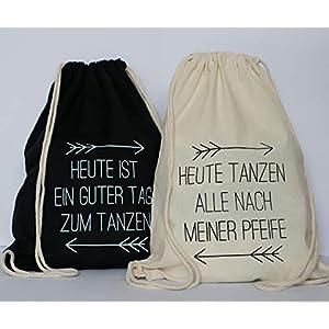 Set aus 10 Turnbeutel JGA Rucksack für Junggesellenabschied; 1 Brautbeutel und 9 Beutel für die Mädels bachelorette bridal party, tanzen sw/beige
