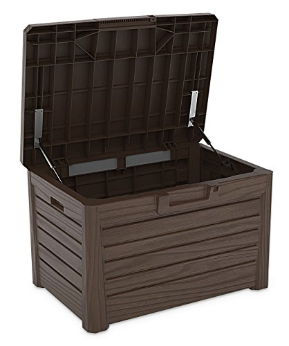Toomax Kissenbox #Z158 braun 120 Liter Inhalt Holz Optik - mit Sitzfläche 200 kg Tragkraft - absolut wasserdicht - abschließbar