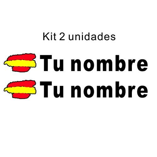 Pegatina vinilo bandera españa + nombre personalizado
