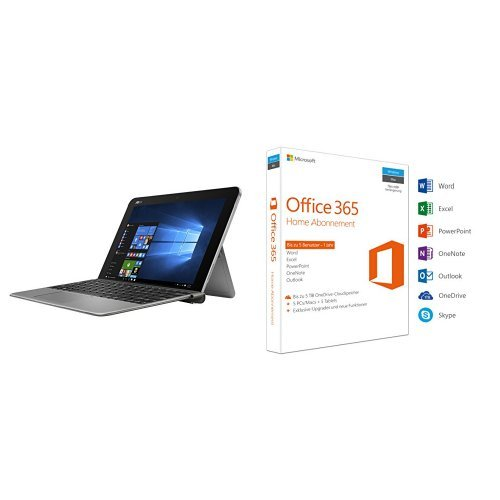 Asus T102HA-GR022T 25,6 cm (10,1 Zoll) Convertible Tablet-PC (Intel Atom x5-Z8350, 128 GB eMMC Festplatte, 4 GB Arbeitsspeicher, Intel HD Graphics, Win 10 Home) grauinkl. Microsoft Office 365 Home 5PCs/MACs - 1 Jahresabonnement
