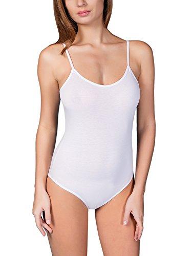 Damen Günstige Bodies (VEDATS Damen Body Spaghettiträger Top Unterhemd Bodysuit Rundhals Schwarz Weiß Hautfarben S M L XL (L,)