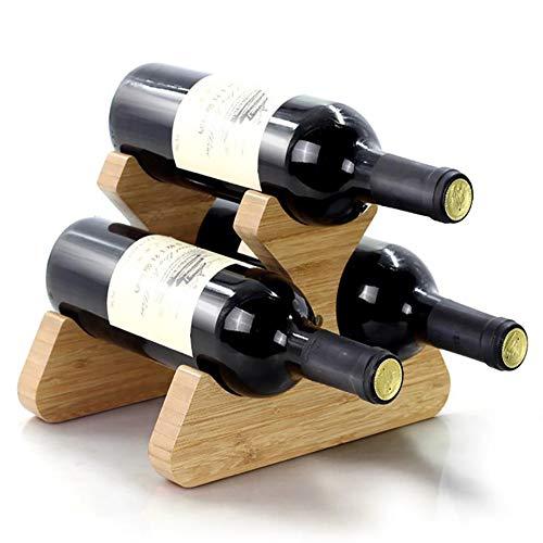 Weinregal Kompakt aus Bambus Holz 6 Flaschen Wein | platzsparend klein | Tisch Halterung zur Lagerung von Weinflaschen Home Dekoration Schmuck Kunsthandwerk, 3 Bottles -