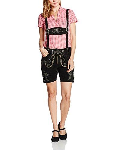 Gaudi-Leathers Damen Trachten Lederhose Shorts kurz mit Träger in Schwarz (Schwarz 050), W40 (Herstellergröße: 46)