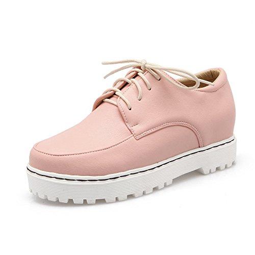 Rendas Rosa Redondo Agoolar Salto Sapatos Puro Pu Médio De Senhoras Couro Bombas Bico wfO5nqOxH