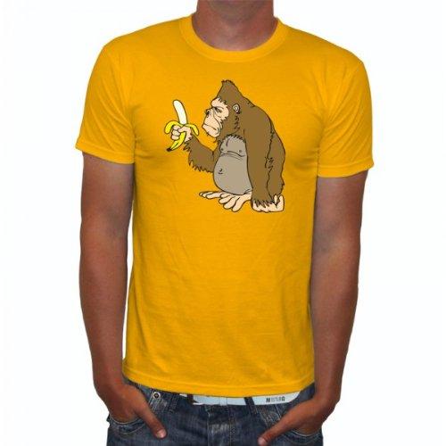 Raxxpurl Gorilla mit Banane Fun Herren T-Shirt, Größe:L;Farbe:gelb