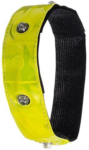 LED-Armband Sicherheitsband mit 4 hellen LEDs | XXL 49x3cm | Neuste Version| Movoja® | Reflektor-Band Reflex-Armband Joggerband Sicherheitsarmband Fahrrad Sicherheit LED Sicherheitslicht