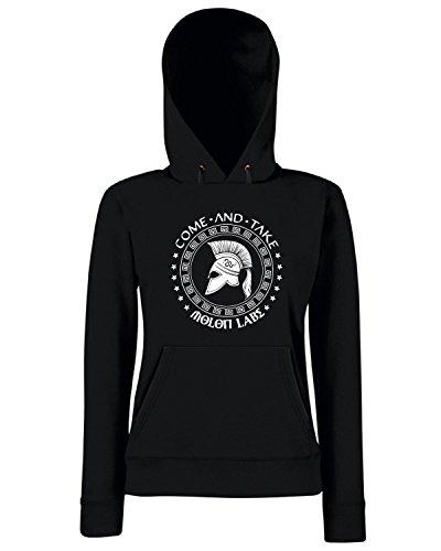 T-Shirtshock - Sweats a capuche Femme TM0672 come and take molon labe spartan Noir