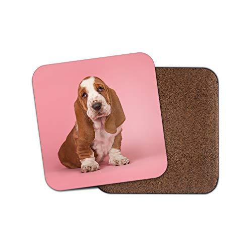 Untersetzer mit Basset Hound Welpen, süßes Haustier, Pink #15975 -