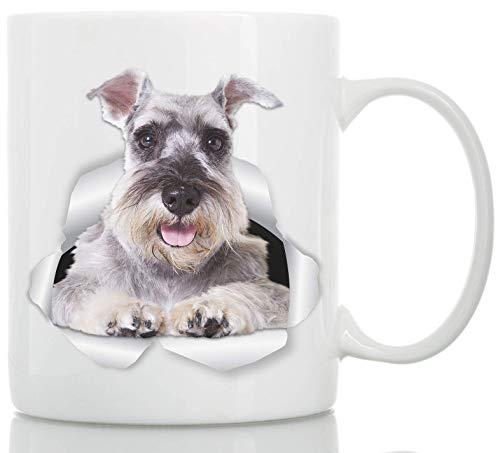 Super Gray Schnauzer Tasse - Keramik Schnauzer Kaffeetasse - Perfekte Schnauzer Geschenke - Lustige süße Schnauzer Hund Tasse für Hundeliebhaber und Besitzer 11oz weiß