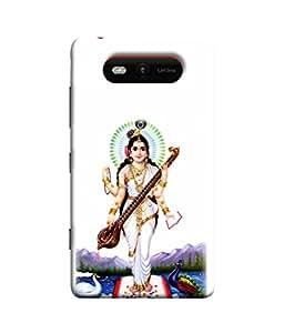 PrintVisa Designer Back Case Cover for Nokia Lumia 820 (Sarswati mata standing blessing us)