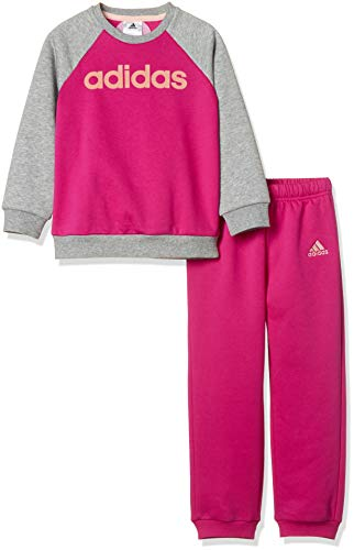 Adidas I Lin FL Pantalón de Chándal, Niños, Rosa/Magenta / Gris (Real/Medium Heather/Haze Coral), 92